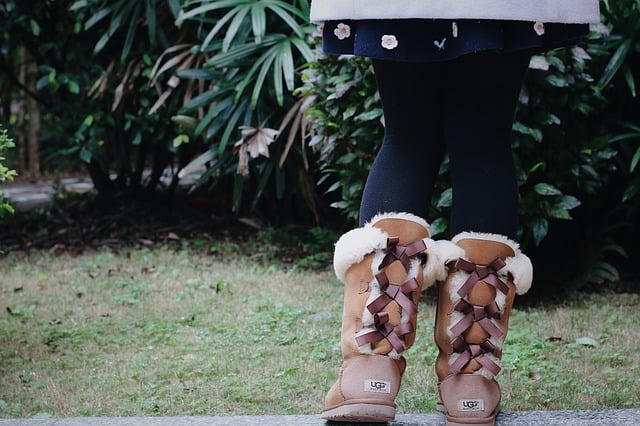 Lady in brown UGG boots