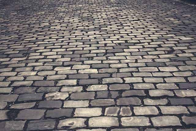 Cobblestone paving on the streets