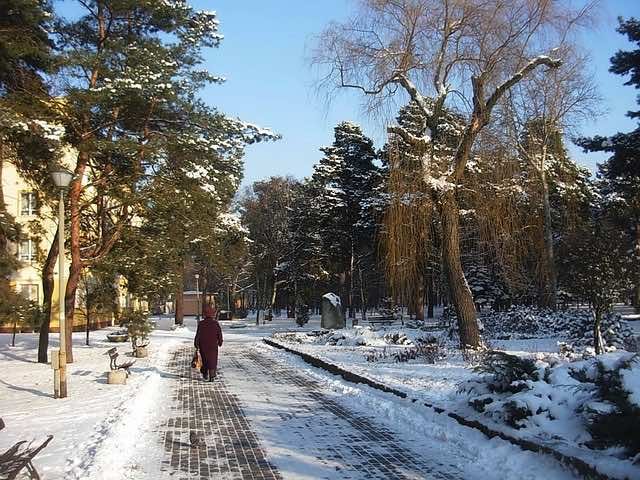 lady walking on icy pavement in a park